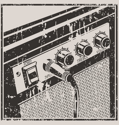 Guitar amplifier retro style vector