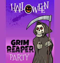 halloween holiday cartoon design with grim reaper vector image