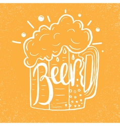 Hand drawn beer in glass mug with text Beer on vector image vector image