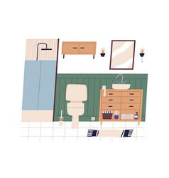 Home wc or bathroom interior clean restroom vector