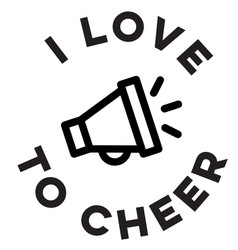i love cheerleading logo sign vector image