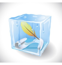Ice cube with feather and paper vector image