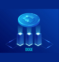 isometric dogecoin doge cryptocurrency mining farm vector image