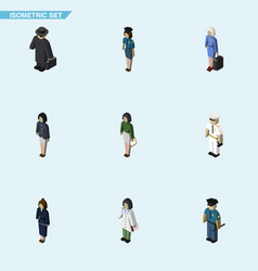 Isometric person set of girl pedagogue vector