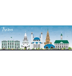 Kazan Skyline with Gray Buildings and Blue Sky vector