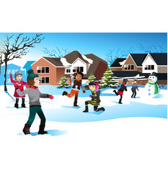 Kids playing snow ball fight vector