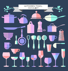 kitchen ware and restaurant glassware icons set vector image