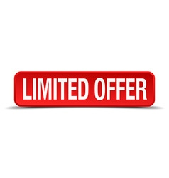 Limited offer red 3d square button isolated on vector