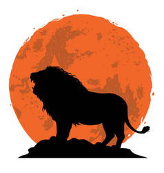 Lion snarling on a rock vector