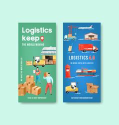 Logistics flyer design with warehouse car plane vector