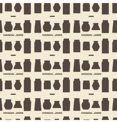 Mason jars silhouette icons set seamless texture vector image