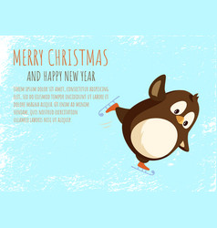 merry christmas and new year penguin on skates vector image