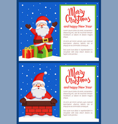 merry christmas happy new year posters with santa vector image