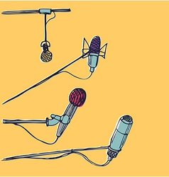 Microphones Hand-drawn graphic elements EPS 10 vector image