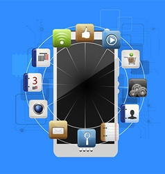 Mobile device with a set of flat icons vector
