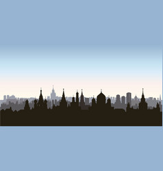 moscow city buildings silhouette russian urban vector image
