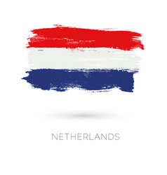 Netherlands colorful brush strokes painted vector