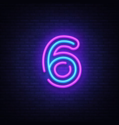 Number six symbol neon sign number six vector