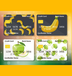 original fruit credit card design vector image
