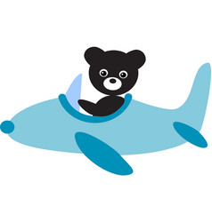 Panda flying in air plane image vector