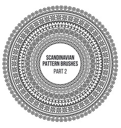 pattern brushes inspired by scandinavian finnish vector image