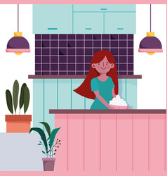 People cooking girl with counter in kitchen vector