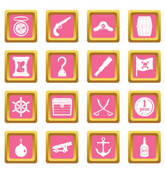 Pirate icons pink vector