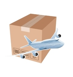 plane and box as symbol airmail vector image