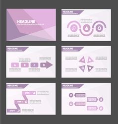Purple polygon presentation templates set vector