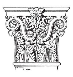 Roman-corinthian pilaster capital rome vintage vector