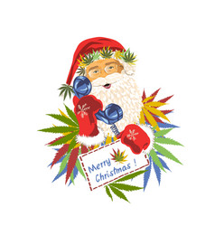 Santa claus with a tube phone with cannabis leaves vector