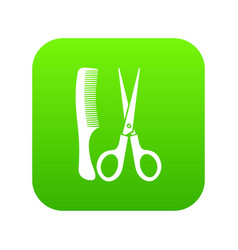 scissors and comb icon digital green vector image