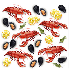 seafood cancer and mussels realistic vector image