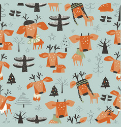 seamless pattern with cute cartoon little deers in vector image