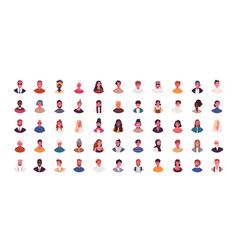 Set different people avatars flat vector