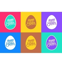 set flat easter greeting cards vector image