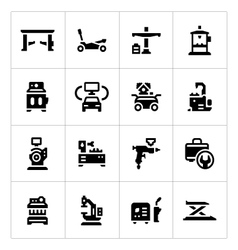 Set icons of car service equipment vector image