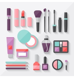 Set of colored cosmetics icons in flat style vector