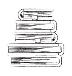Sketch blurred silhouette of stack of books with vector