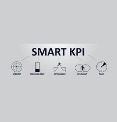 smart kpi concept banner with icons key vector image