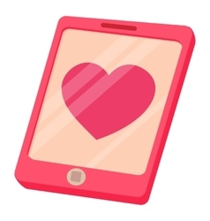 Smartphone with heart icon cartoon style vector