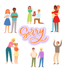 Sorry and apologizing exuse me cartoon characters vector