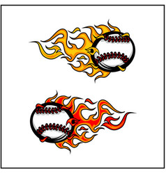 sport ball flame set 2 vector image