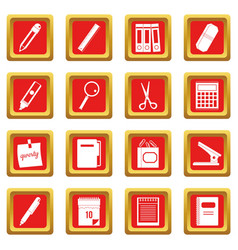 Stationery symbols icons set red vector
