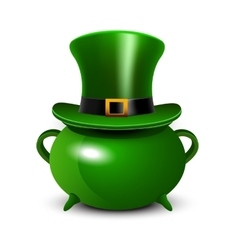 StPatricks Day background with green cauldron and vector