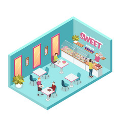Sweet shop inside isometric vector