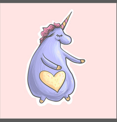 the magic purple cute funny fat unicorn with heart vector image