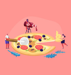 tiny people eating huge pizza male and female vector image