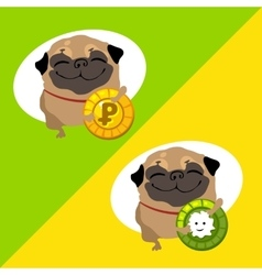 Tow happy dog pug with coins vector