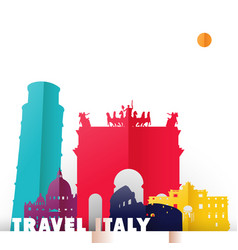 Travel italy country paper cut world monuments vector